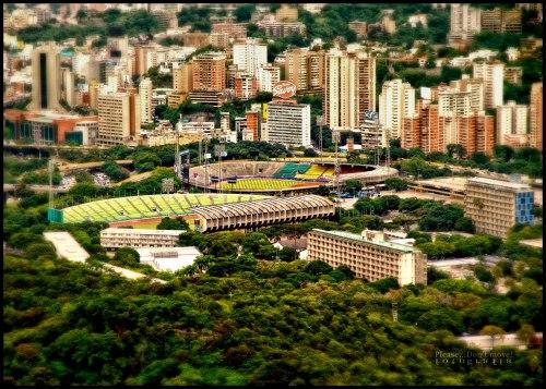 Vista aérea de los estadios en la Universidad Central de Venezuela, Caracas