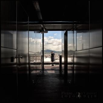 Hall de ascensores en la terraza del piso 27