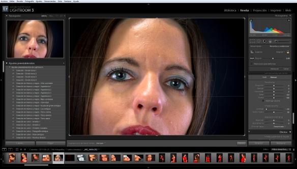 Fotografía de la interfaz de Adobe Lightroom 3