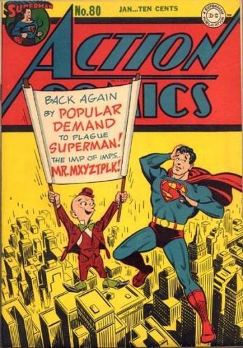 Comic de Superman con Mxyzptlk en la portada.